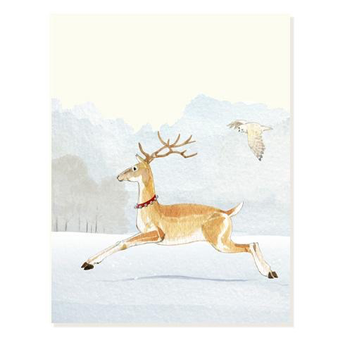 Ring-a-Ling Deer and Owl Holiday Card
