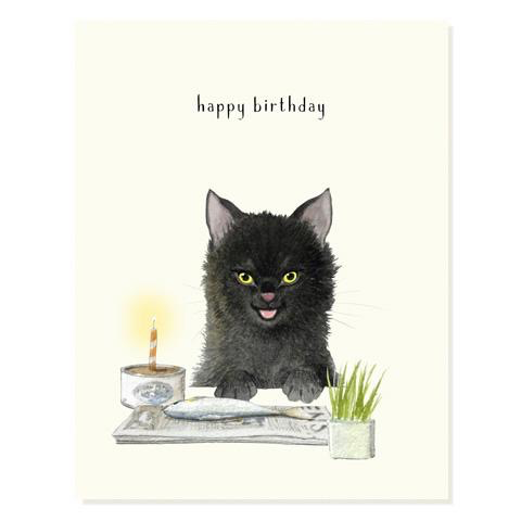 Fish Cake (Black Cat) Birthday Card
