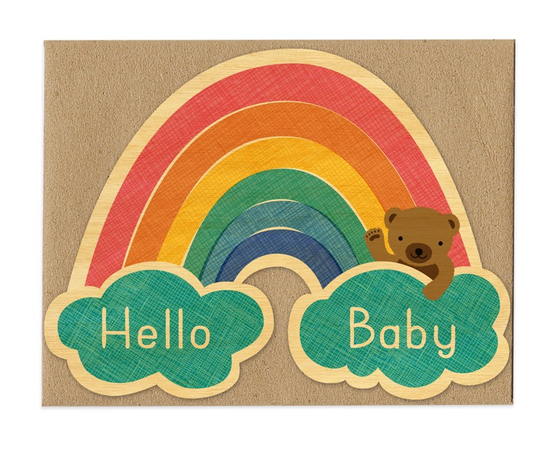 Baby Rainbow Wood Congratulations Card