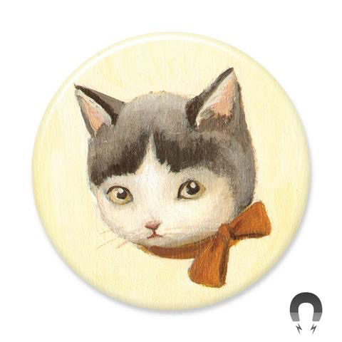 Gray and White Big Kitty Magnet 2.25""