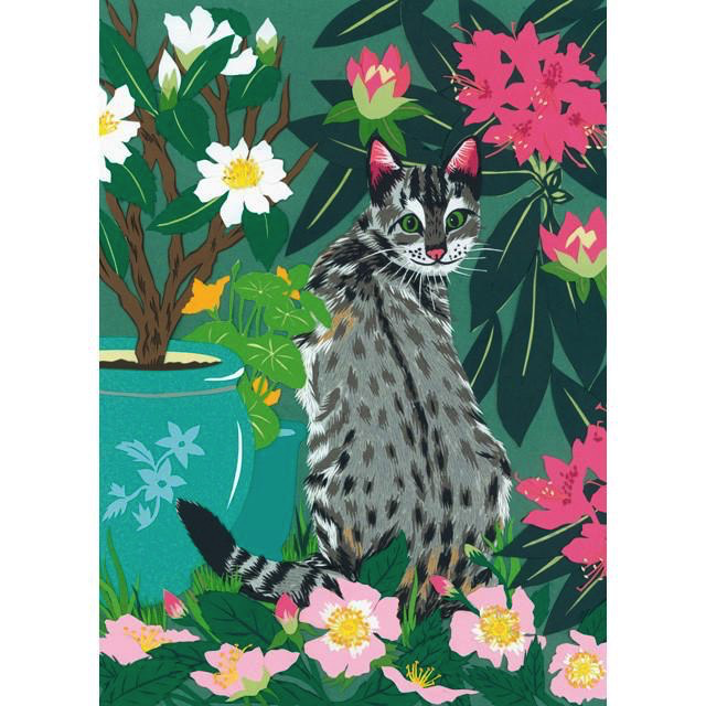 Cat in the Garden Card