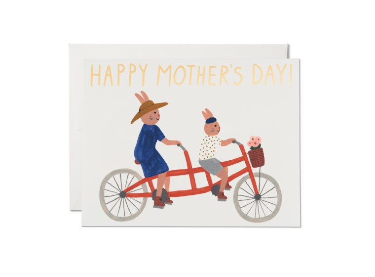 Tandem Bike Bunnies Mother's Day Card