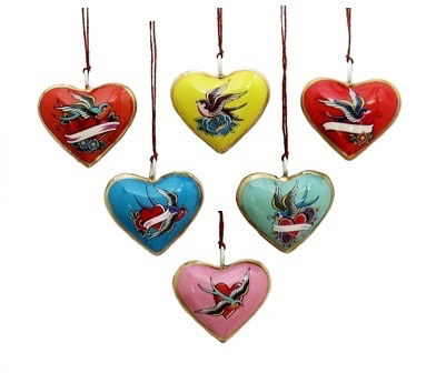 Mini Lovebird Heart Ornament (assorted) Valentines Day, XMAS
