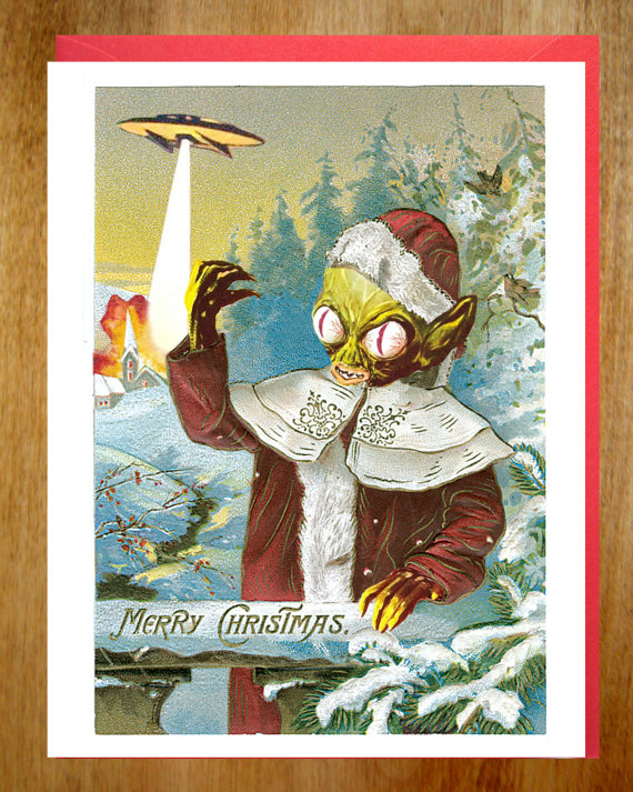 Alien Christmas Holiday Card