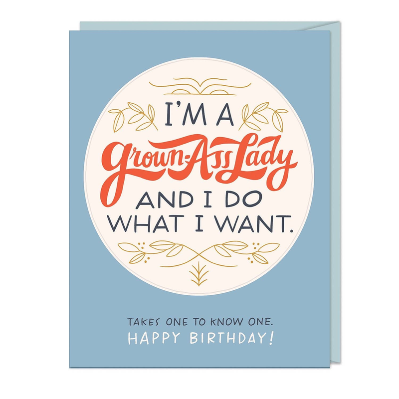 'm A Grown-Ass Lady Birthday Sticker Card