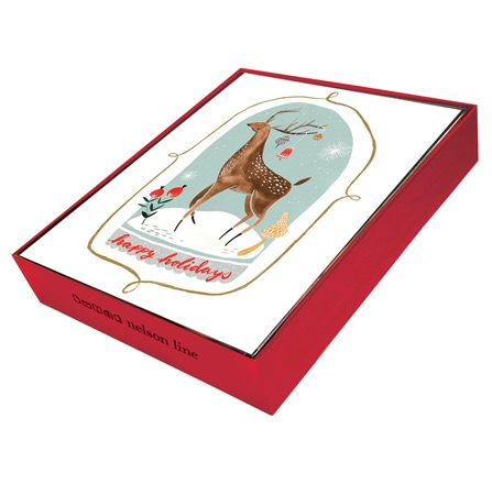 Deer in Snow Globe Holiday Boxed Cards