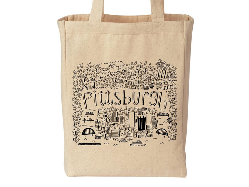 Pittsburgh Icons and Landmarks Doodle Tote Bag