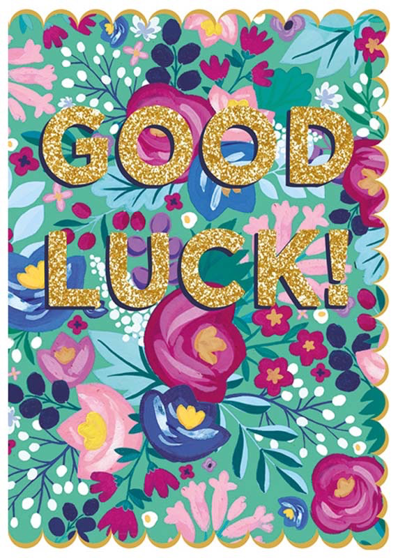 Flowers Good Luck Card