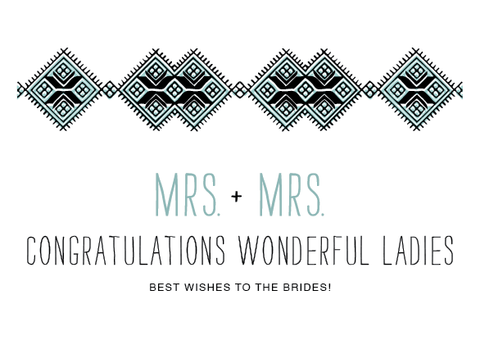 Mrs. & Mrs. Brides Wedding Card