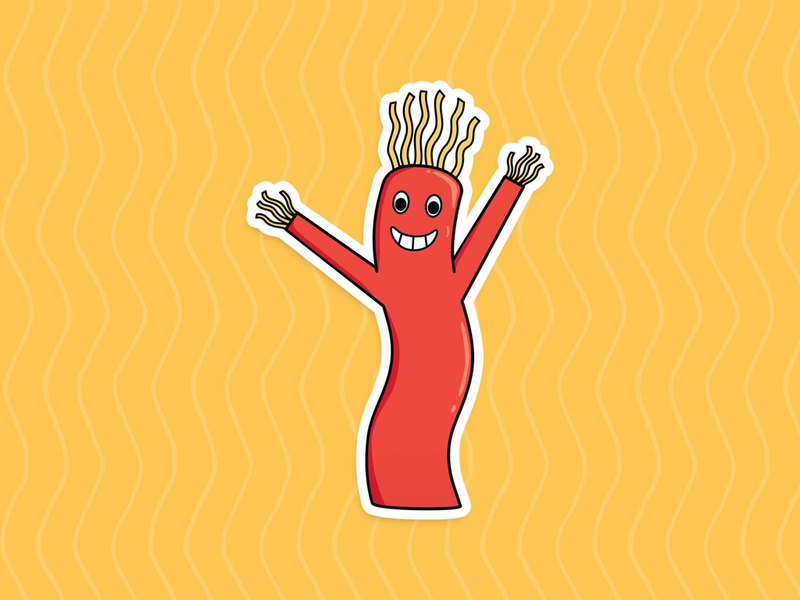 Waving Tube Guy Vinyl Sticker
