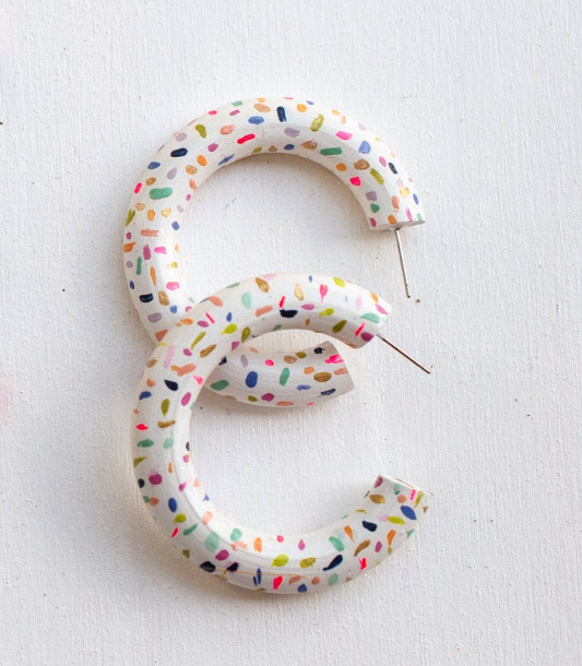 Painted Party Hoops - White Confetti
