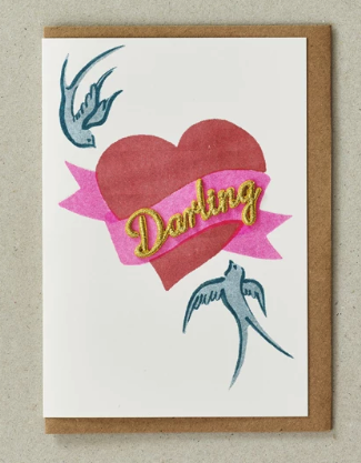 Darling Heart Embroidered Patch Card