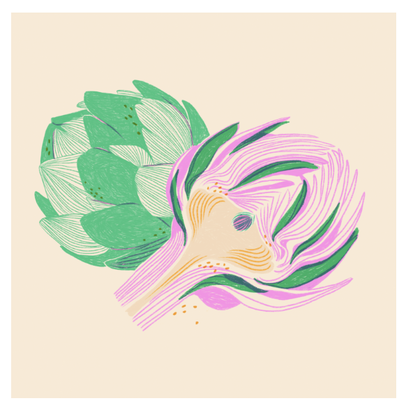 "Artichokes and Lines Print (8"" x 10"")"