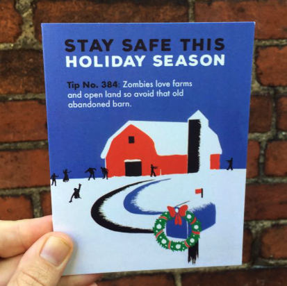 Stay Safe from Zombies Holiday Card