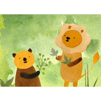 Lion and Bear in the Woods Birthday Card