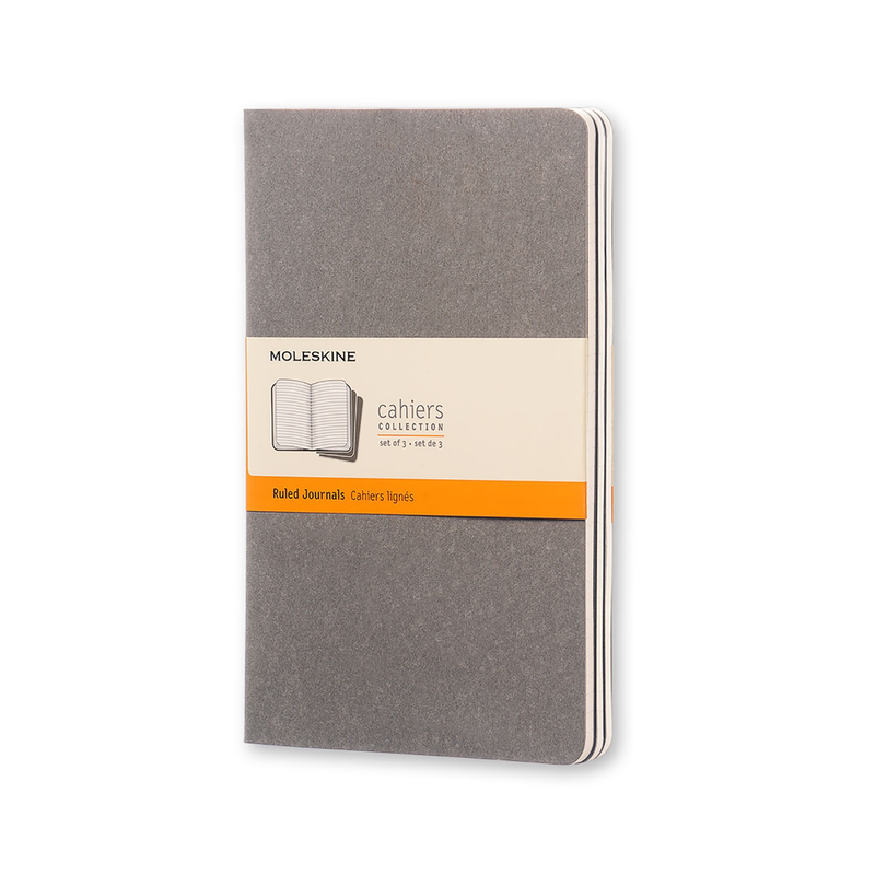Soft Cover Ruled Cahier Journal Set of 3 (Pebble Gray)