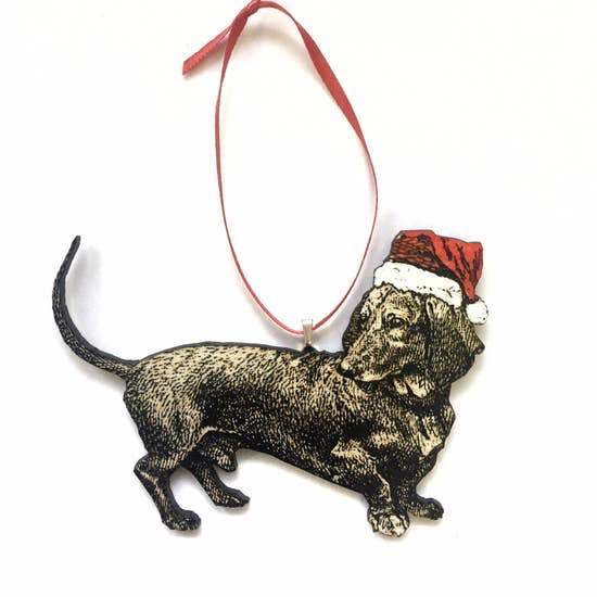 Hand Painted Santa Hat Dachshund Christmas Ornament