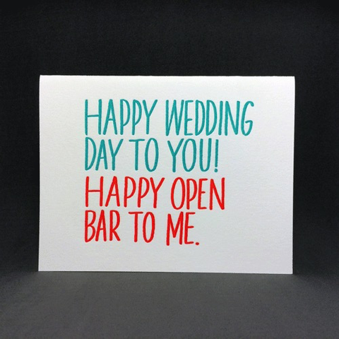 Happy Wedding Happy Open Bar Card