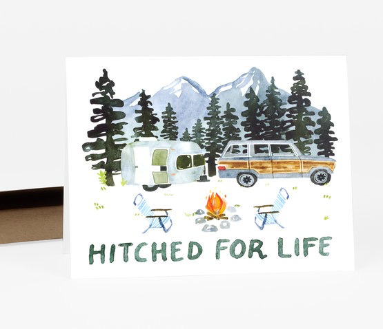 Hitched for Life Wedding Card