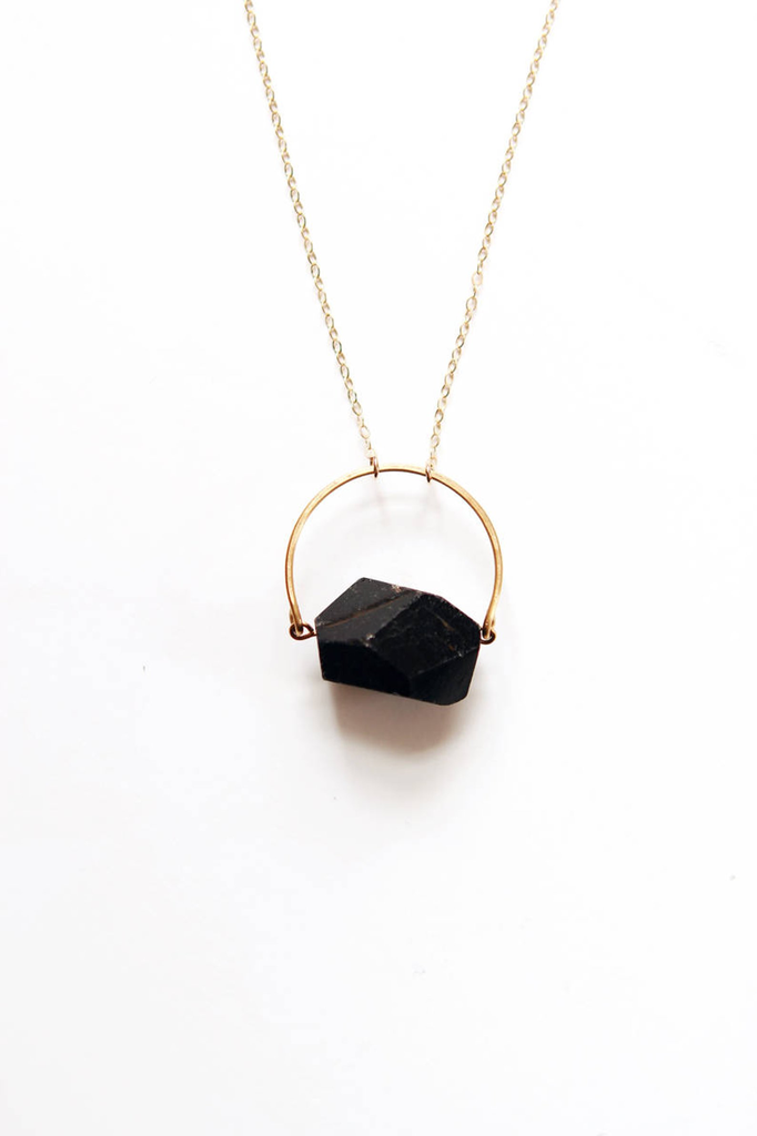 Black Tourmaline Arch Necklace