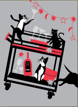 Crazy Cats New Year Card