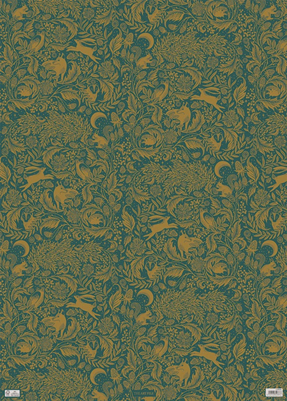Luxe Green Woodland Foil Wrap Paper Sheet (pick up only)