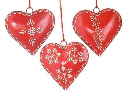 Red Painted Heart Ornament Asst. 4""