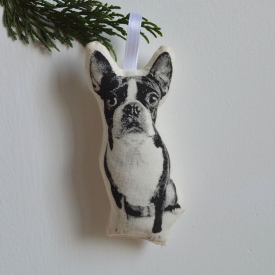 Plush Boston Terrier Ornament