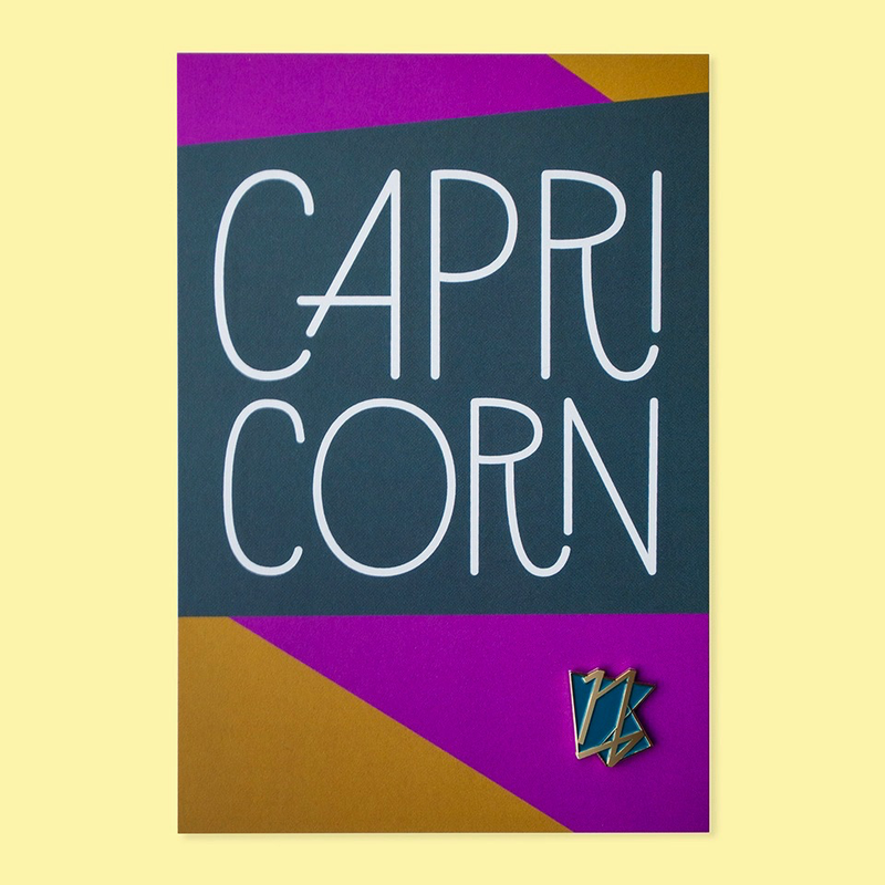 Capricorn Pin and Postcard
