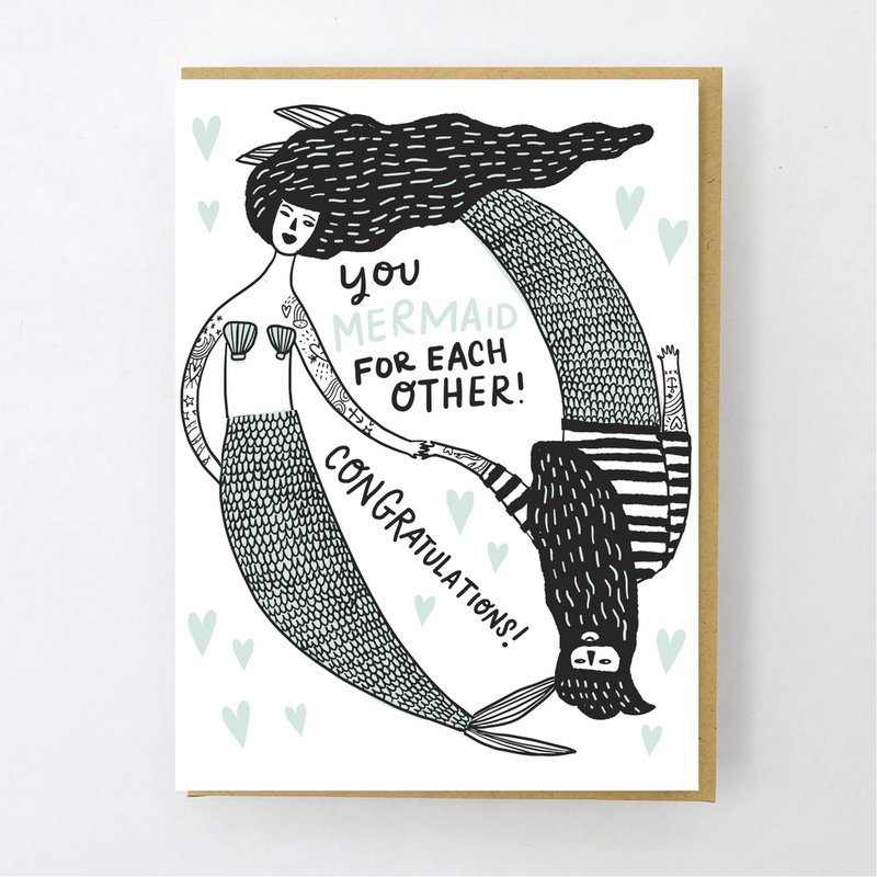 Mermaid for Each Other! Wedding Card