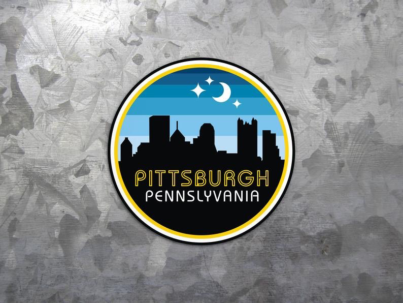 Retro Night Sky Pittsburgh Sticker