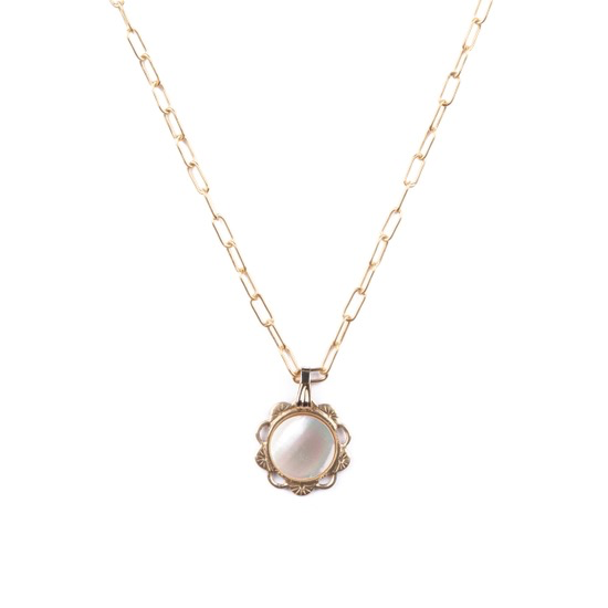 Scalloped Charm Necklace in Mother of Pearl: 19""