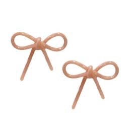 Tortoise Bows Stud Earrings: Pink