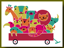 Baby Animal Wagon Card