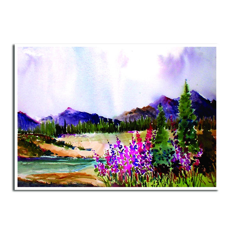 Lupines, Wildflowers, & Mountains Sympathy Card