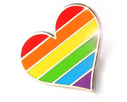 Pride Flag Heart Enamel Pin