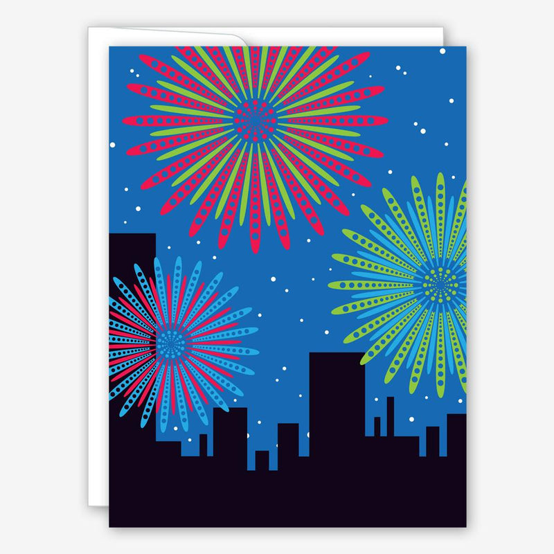 Fireworks Over City New Year Card