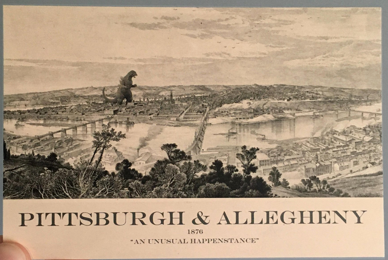 Monster Attacks Pittsburgh Postcard