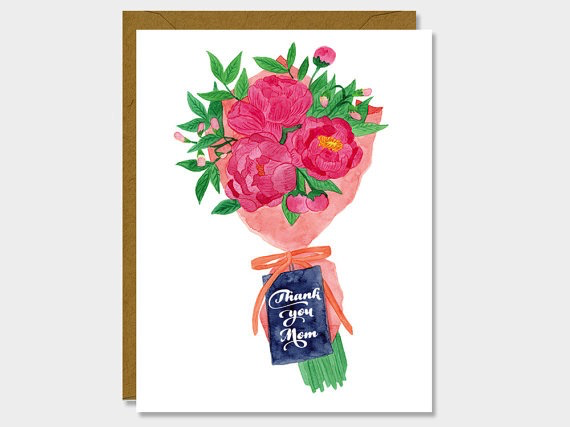 Thank You Mom Bouquet Card
