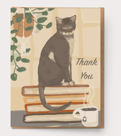 Book and Cat Thank You Card