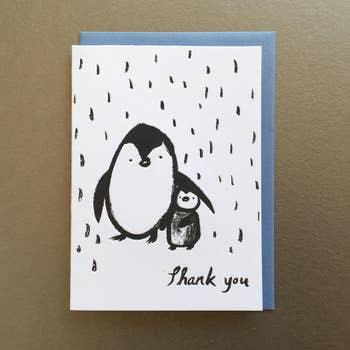 Penguins in the Rain Thank You Card
