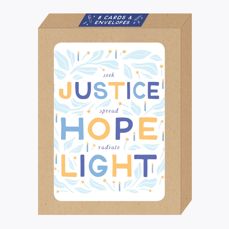 Justice, Hope, Light Boxed Hanukkah Cards