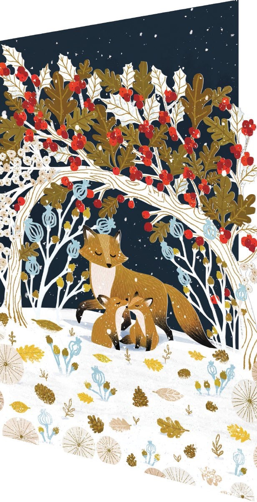Frosty Forest Lasercut Card Christmas Fox