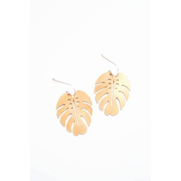 Monstera Leaf Earrings (Brass)