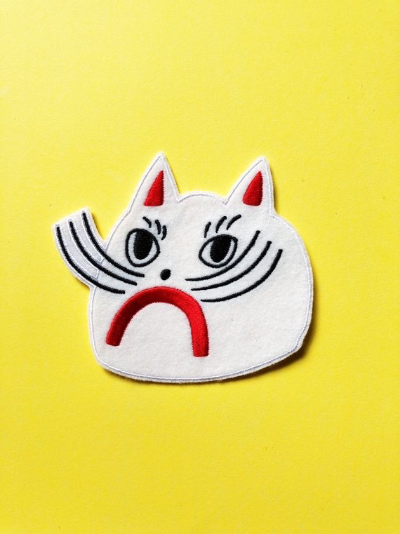 White Cat Iron-On Patch