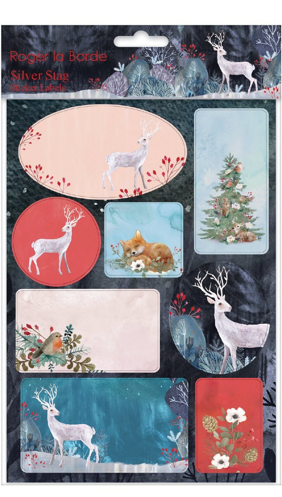 Silver Stag Sticker Labels Sheet