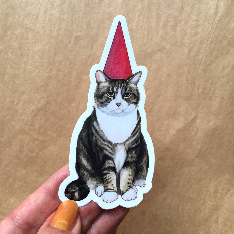 Cat Gnome Vinyl Sticker