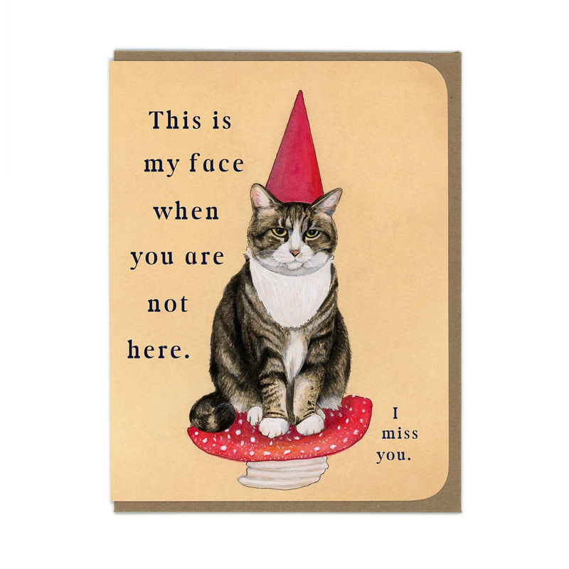 Miss You Garden Gnome Kitty Greeting Card