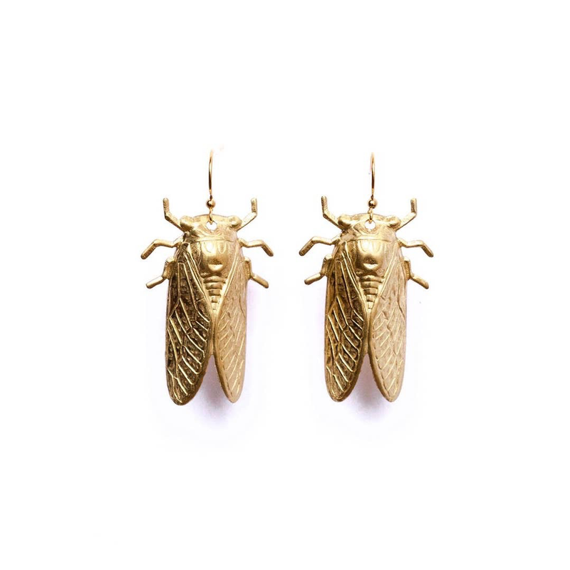 Golden Cicada Earrings Brass