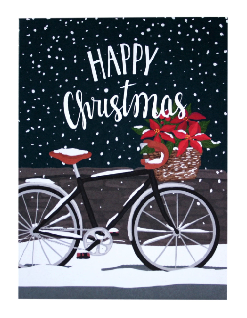 Poinsettia Bicycle Christmas Boxed Cards
